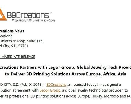 B9Creations Partners with Legor Group